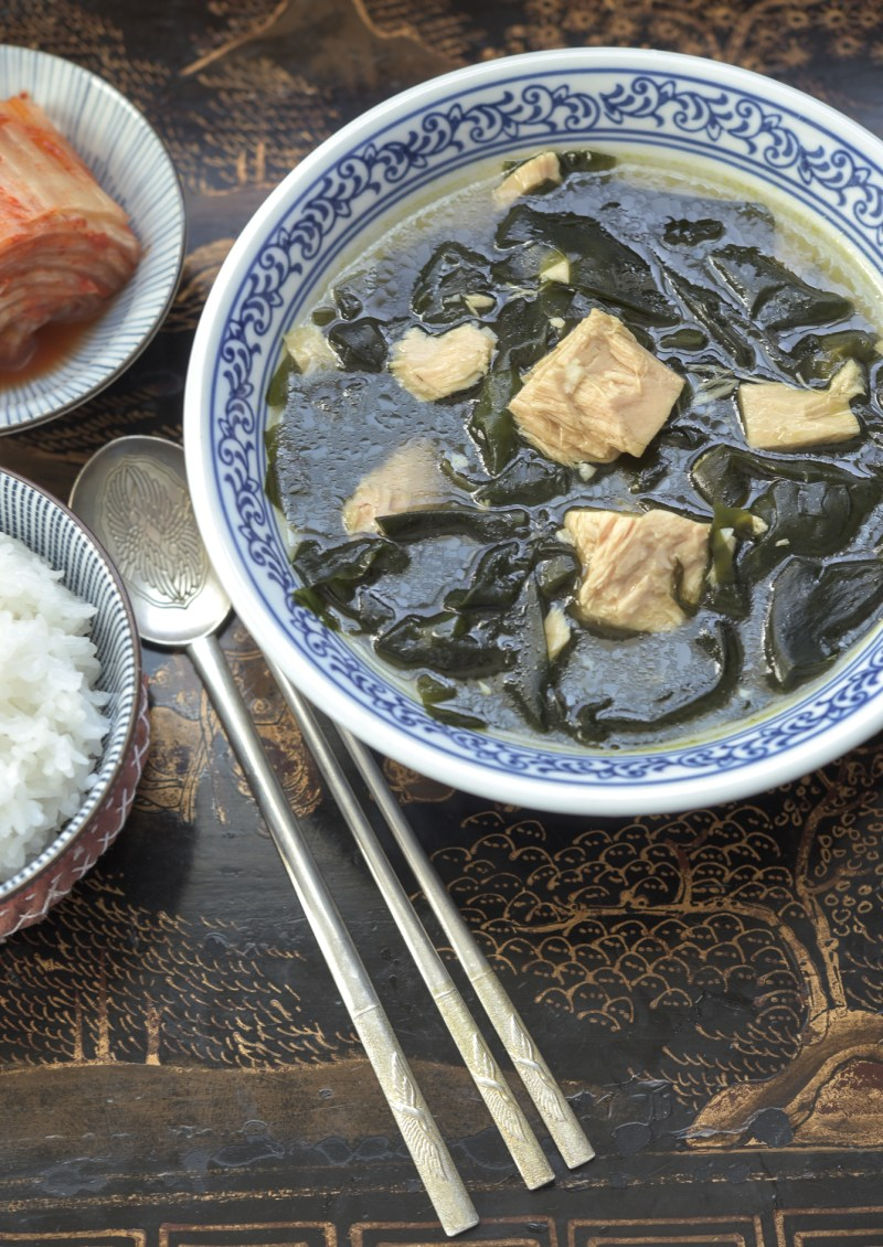 Seaweed and tuna soup makes a quick and healthy meal with rice and kimchi.