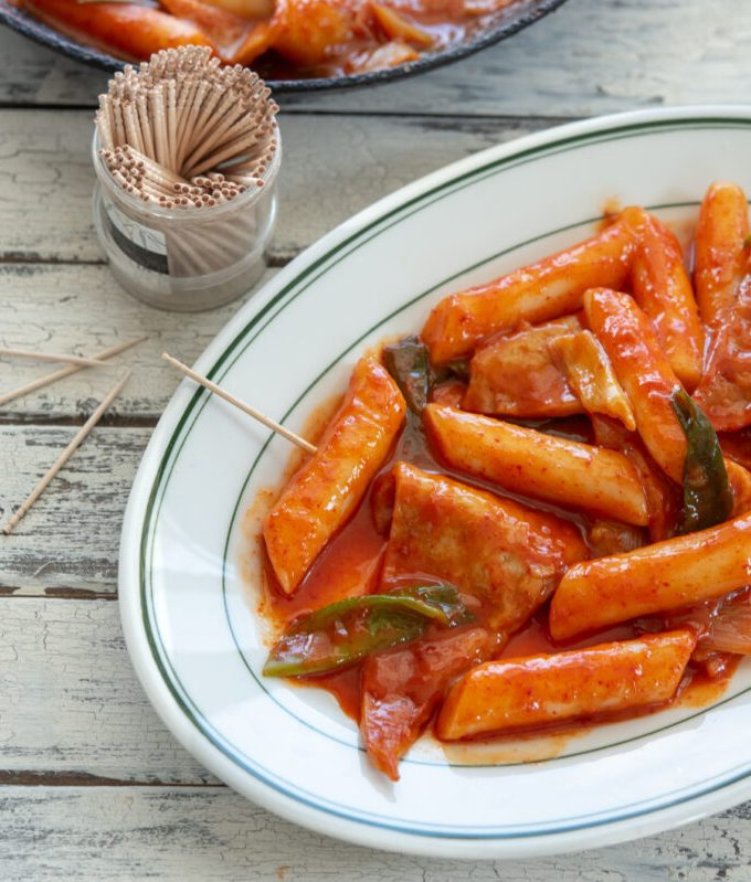 Tteokbokki is street style spicy Korean rice cakes made with gochujang and fish cakes