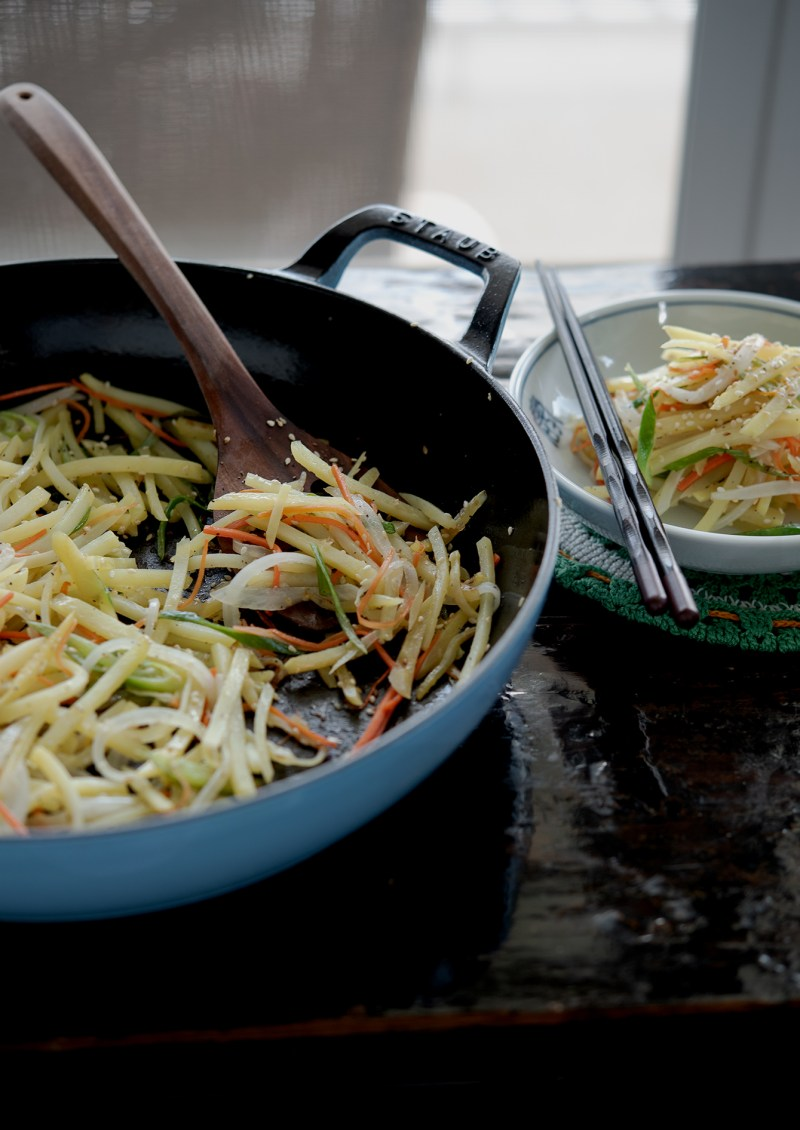 Serve pan-fried potato and vegetable as a side dish to any meals.