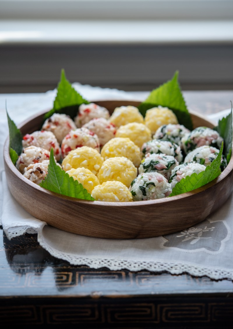 3 colorful rice balls are made with leftover rice and vegetables