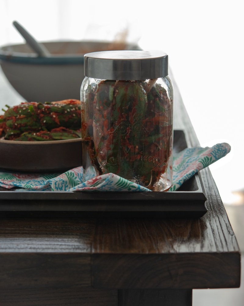 Store cucumber kimchi in an airtight container.