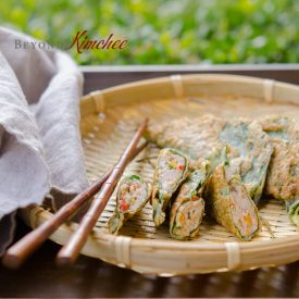 Perilla Leaves are used as dumpling wrappers to hold pork and vegetable filling
