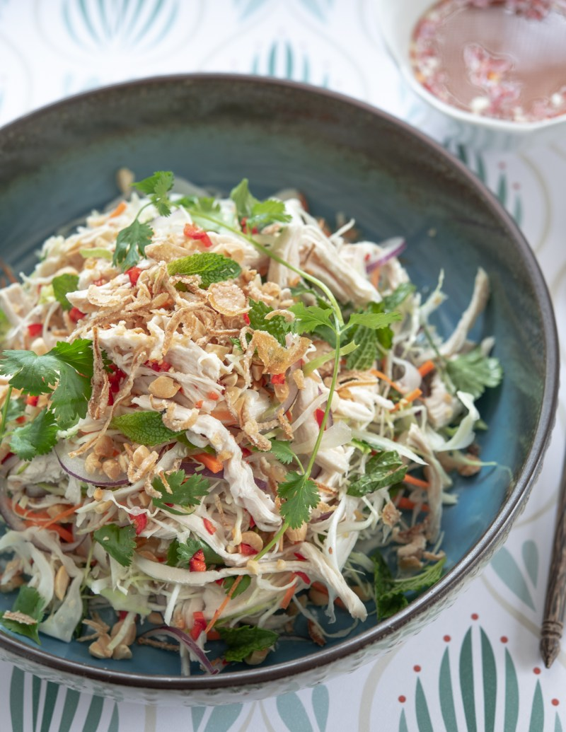 Shredded chicken, fresh herbs, and roasted peanuts makes a great Vietnamese chicken salad