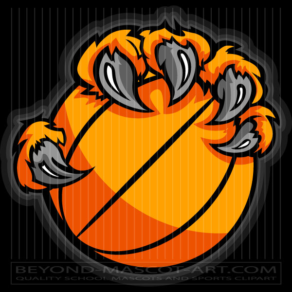 Tiger Claw Basketball Clip Art Cartoon Vector Basketball Image