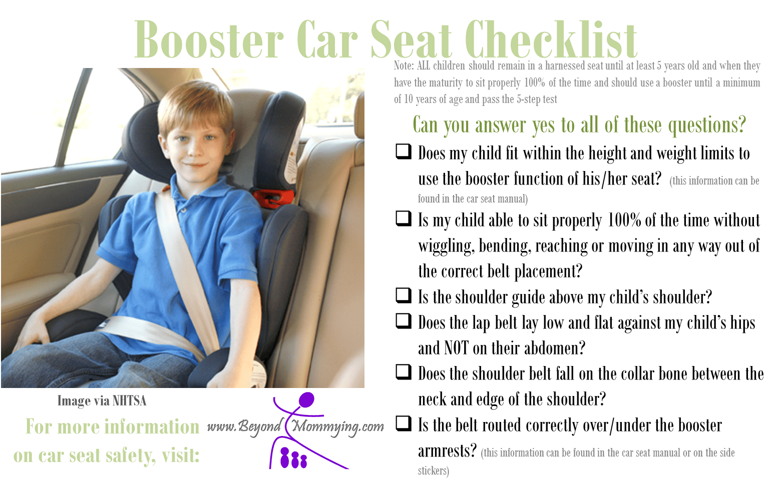 Car Seat Safety: Checklists for Proper Car Seat Use ...