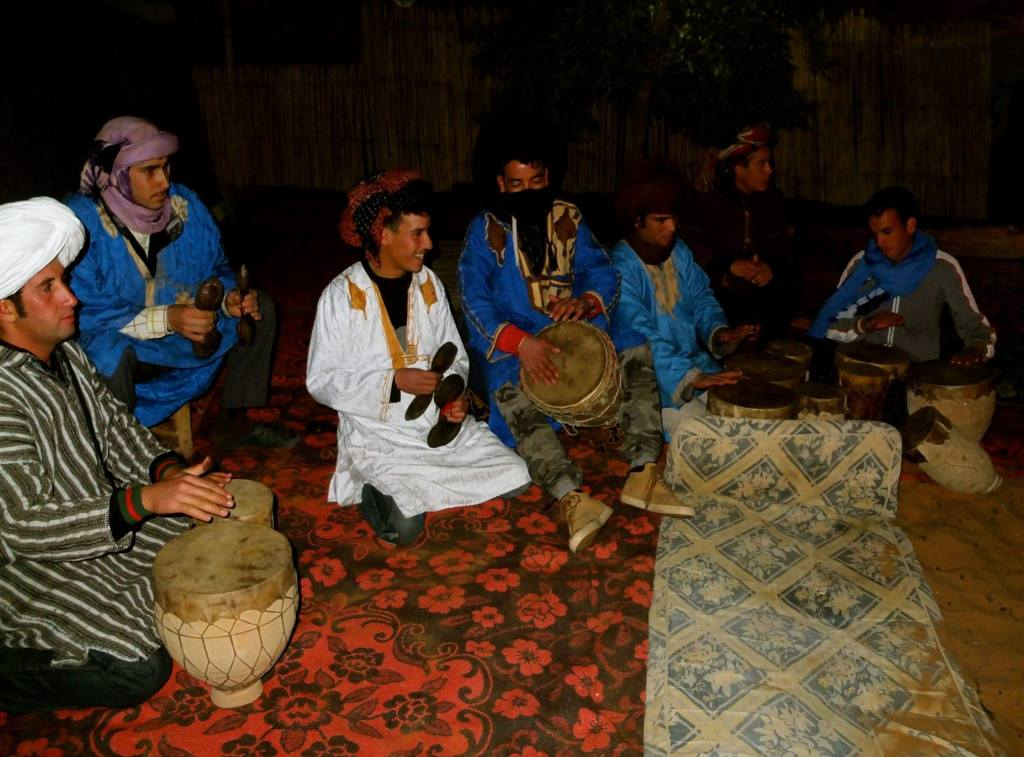 Berber drumming in the desert in Morocco