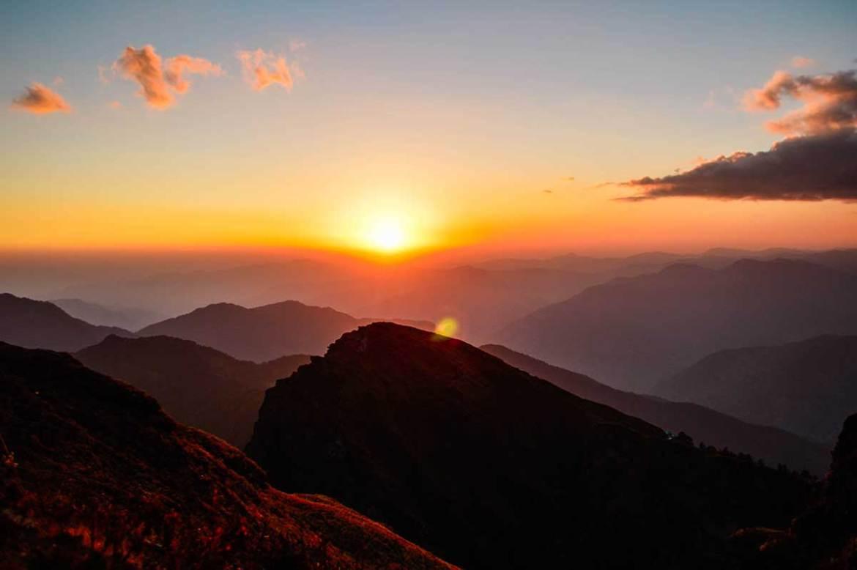 Mountain peak during a beautiful sunset, Chopta, Uttrakhand, India