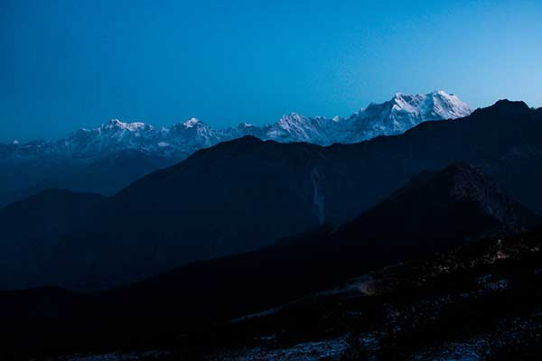 Mountain peak during a beautiful sunrise, Chopta, Uttrakhand, India