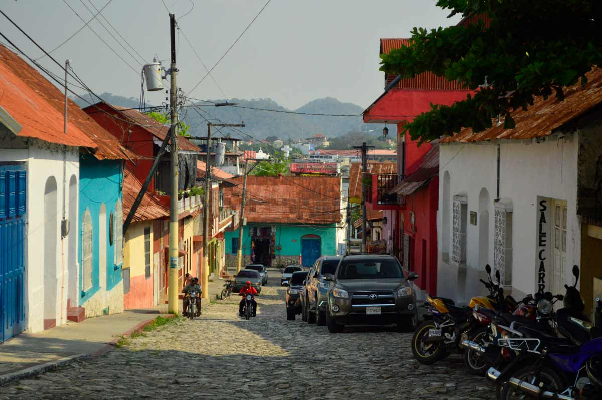 Streets in Flores, Guatemala. Bus from Guatemala City to Flores and Tikal