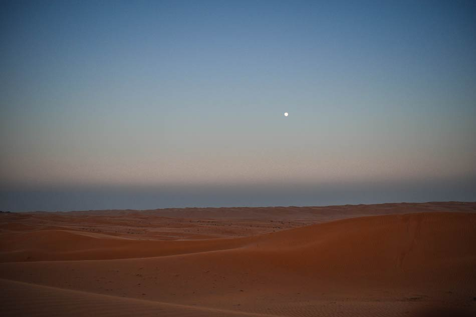 The moon in the Wahbia Bidiyah Sands