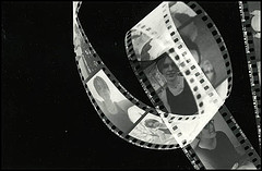 Photogram of a roll of black & white film