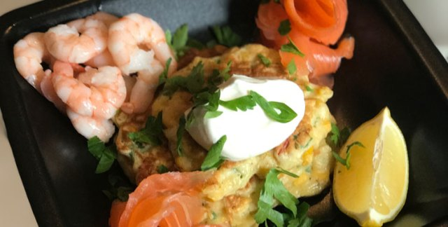 Sweetcorn fritters with salmon and prawns