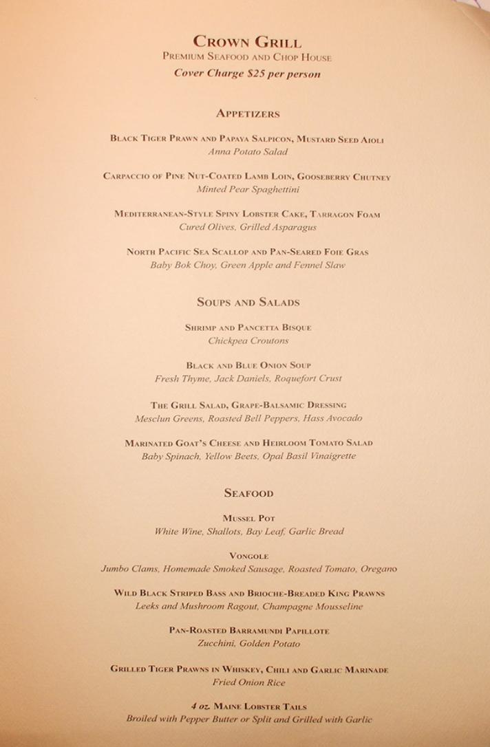Ruby Princess Menu Crown Grill