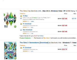 The Sims 3 (And other EP) Semi-Sale Now On Amazon.com!