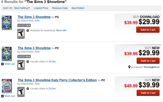The Sims 3: Showtime Sale Also at Gamestop