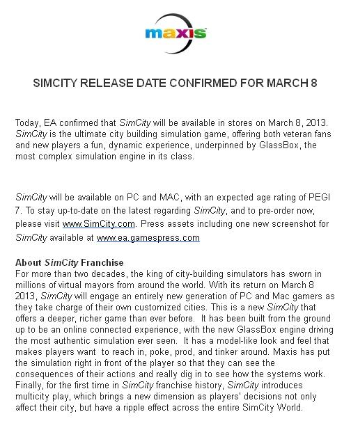 OFFICIAL SIMCITY RELEASE DATE!!!