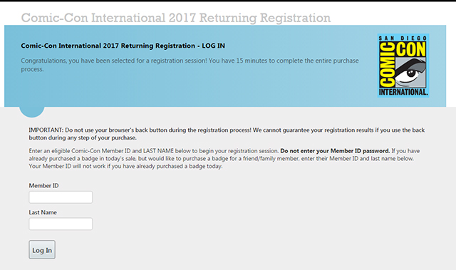San Diego Comic-Con 2017 Registration