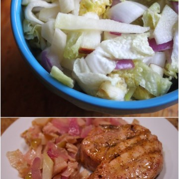 Paleo Maple Mustard Pork Chops with Sweet Cider Cabbage Slaw