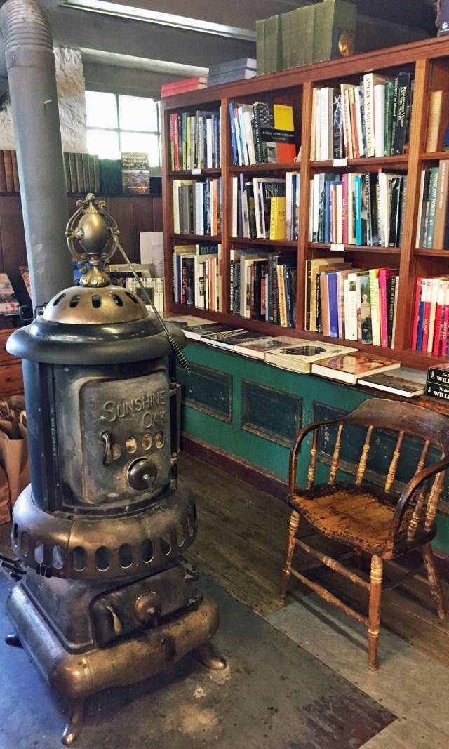 Old wood burning stove at Baldwin's Book Barn.