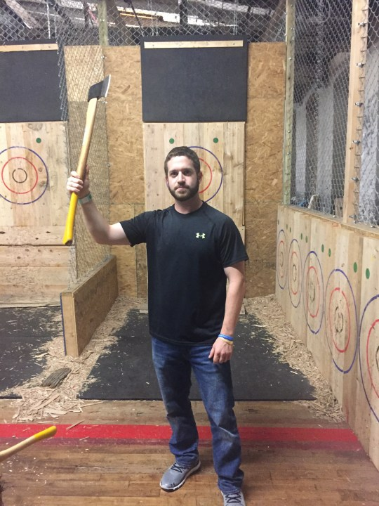 Throwing axes like a boss at Urban Axes Philadelphia.
