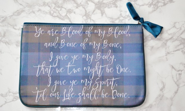 Gaelic script on the leather purse from the bookish box.