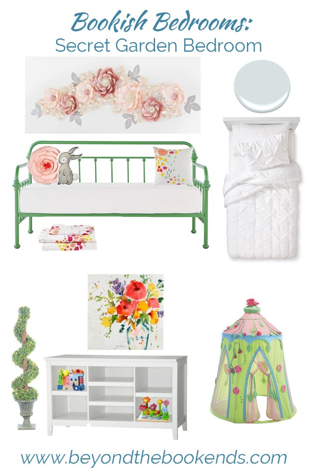 This secret garden bedroom is perfect for an little girls! The giant flowers and bench-like bed are perfect for a secret garden nursery.