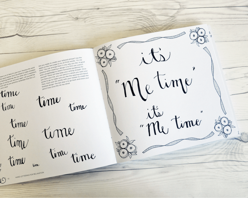 Hand lettering for relaxation beyond the bookends