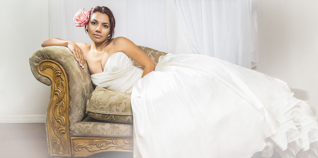 Hawaii Boudoir-Glamour bridal portrait beauty wedding gown on chaise lounge