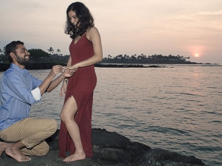 Hawaii Portrait sunset proposal couples photo mauna lani resort