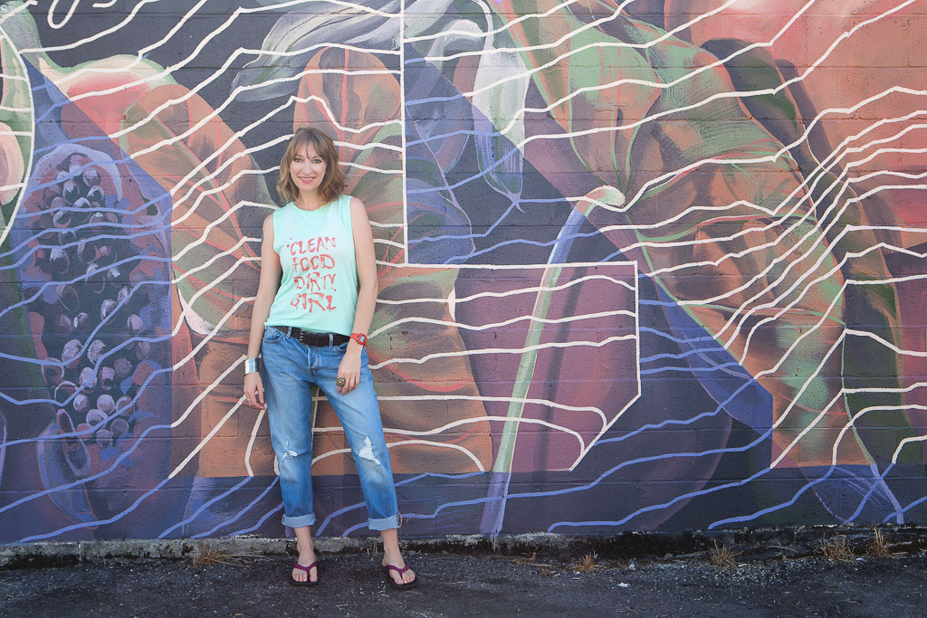 Hawaii Portrait solo woman by graffitti wall professional photographer