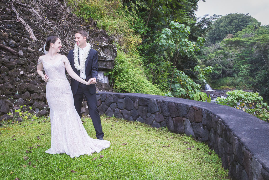 Hawaii wedding the falls at reeds island hilo bride groom dancing professional photographer
