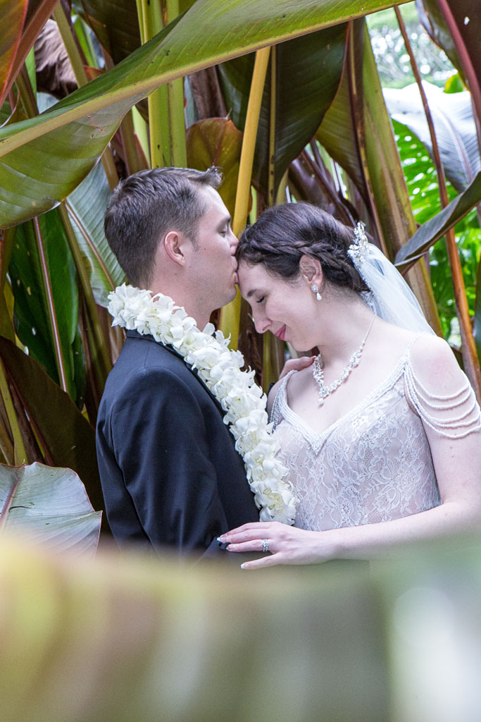 Hawaii wedding bride and groom tender moment the falls at reeds island professional photographer