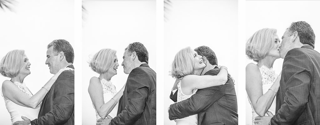 Hawaii wedding black and white Polyptych bride groom first kiss professional photographer