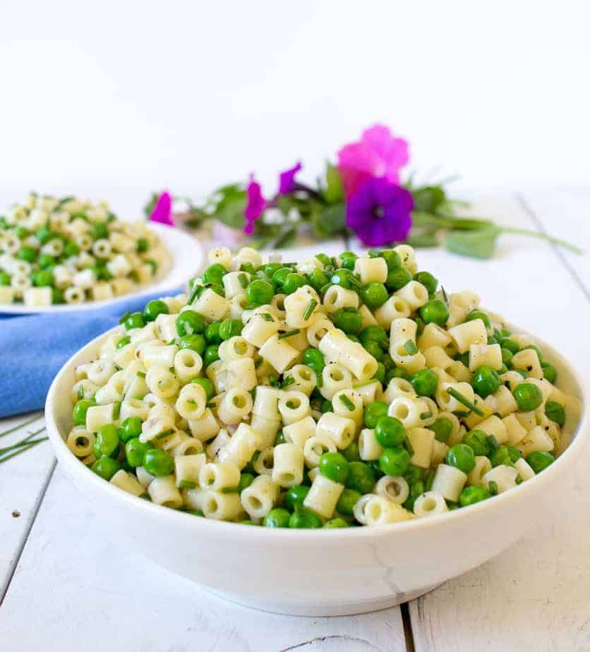 Pasta and Pea Salad served in a large bowl.