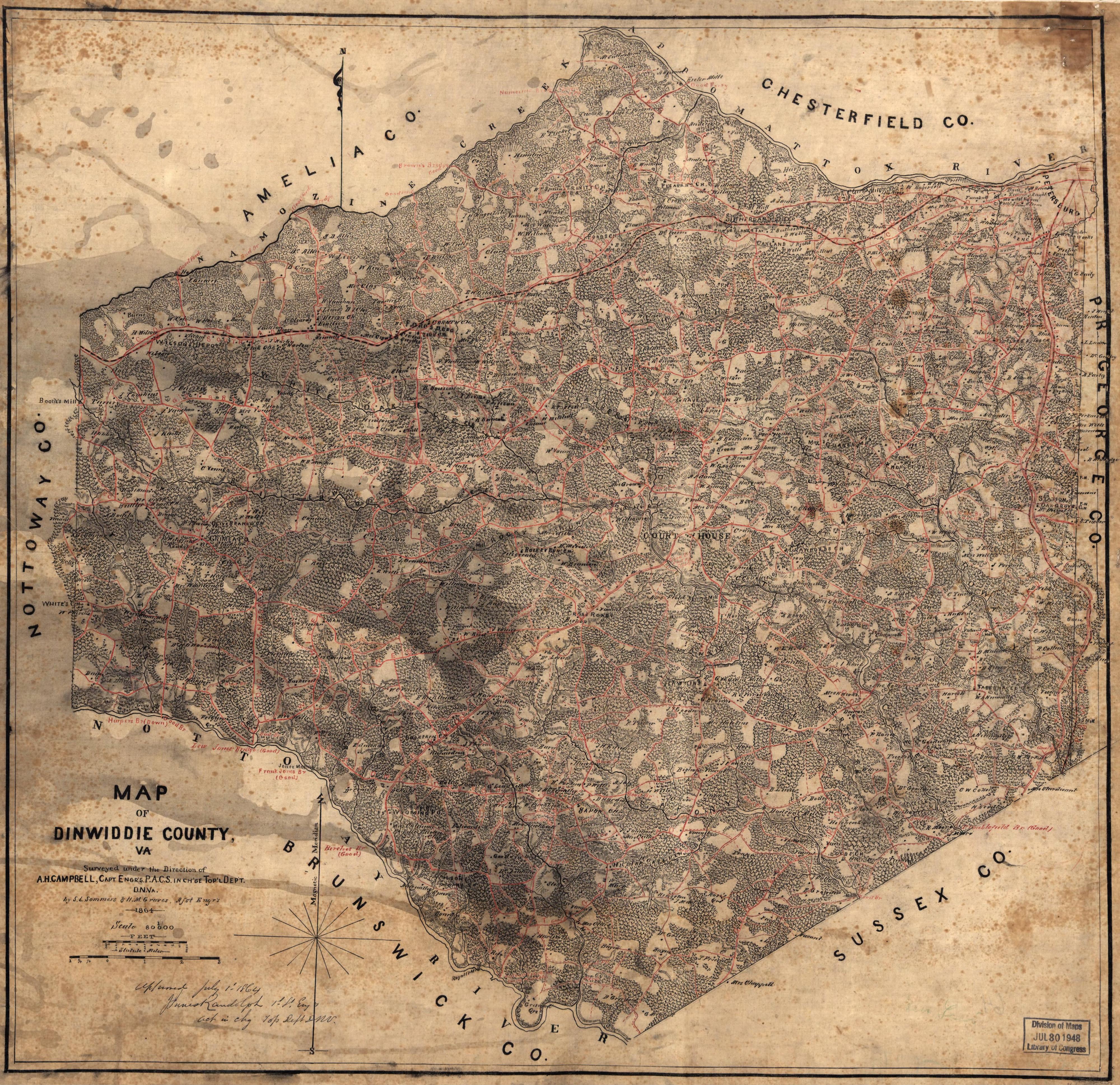 Map Of Dinwiddie County Va The Siege Of Petersburg Online - Va maps