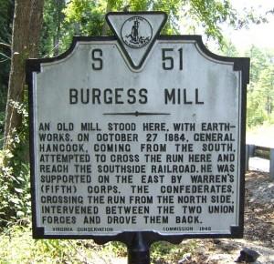 Battle of Burgess Mill Marker: October 27, 1864