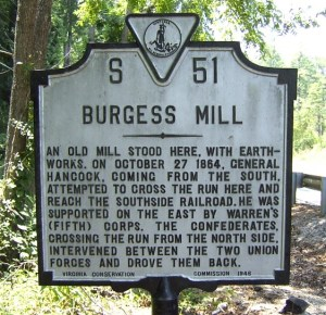 Battle of Burgess Mill Marker: October 27, 1864