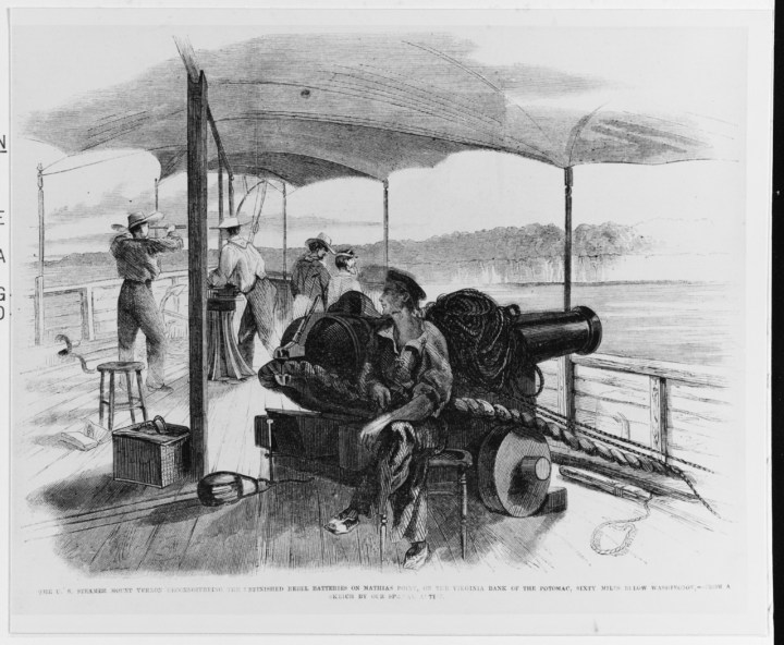 NH 45740 'The U.S. Steamer Mount Vernon Reconnoitreing the Unfinished Rebel Batteries on Mathias Point, on the Virginia Bank of the Potomac, Sixty Miles below Washington.
