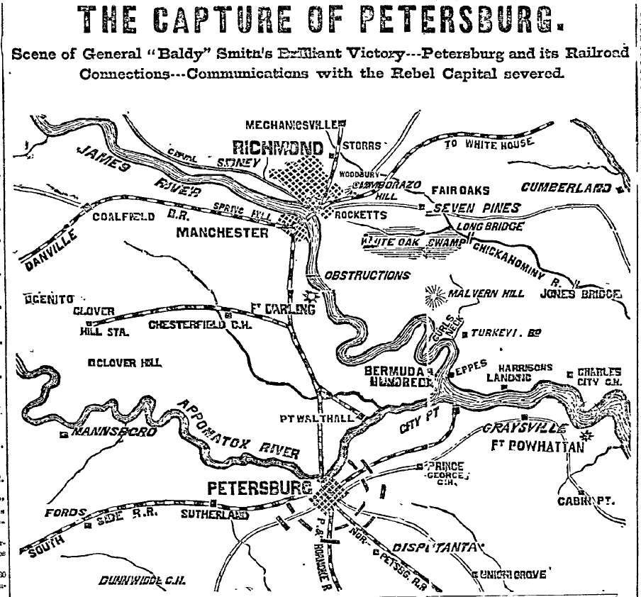 18640618PhiladelphiaInquirerP1C3to5MAPTheCaptureOfPetersburg
