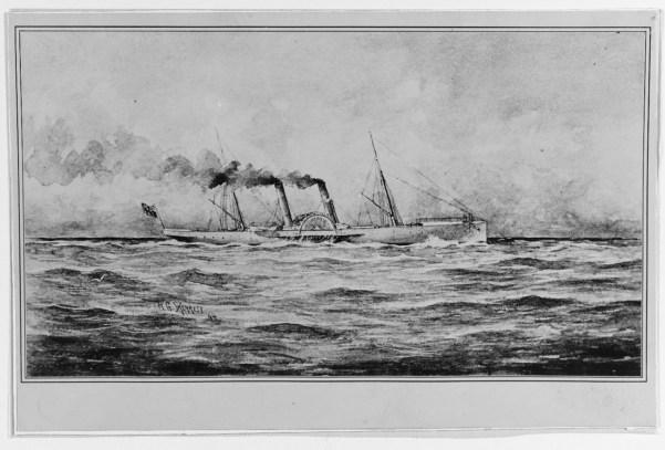 Drawing of USS Banshee as blockade runner PS Banshee