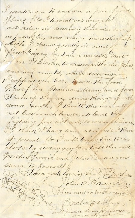 Fifth page of John Mayers' December 25, 1864 letter home from the Siege of Petersburg.