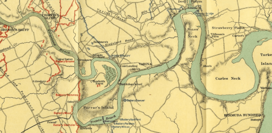 Map of the James River in 1864 from Drewry's Bluff to Bermuda Hundred