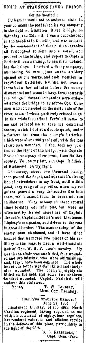 Image of a July 2, 1864 Richmond Sentinel article on the Battle of Staunton River Bridge, June 25, 1864