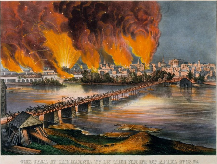 Image of Richmond burning as Confederate soldiers march away across the James River on the night of April 2, 1865