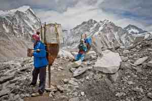 Porters in Nepal on the way to Everest Base Camp