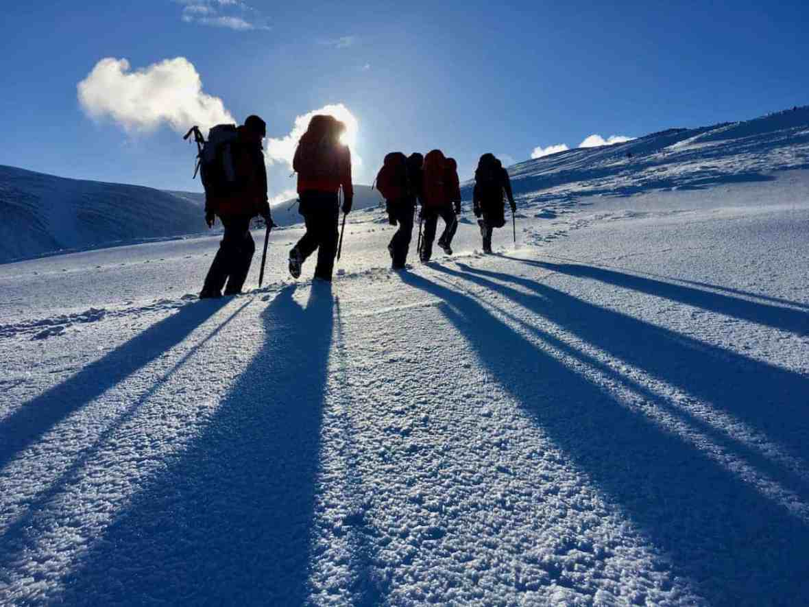 A winter skills course  walking in snow in Scotland