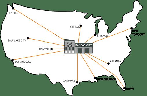 Kansas City as the hub in the hub-and-spoke model
