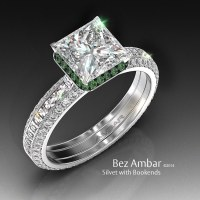 Silvet Blaze Engagement Ring Set with Peridot Frame