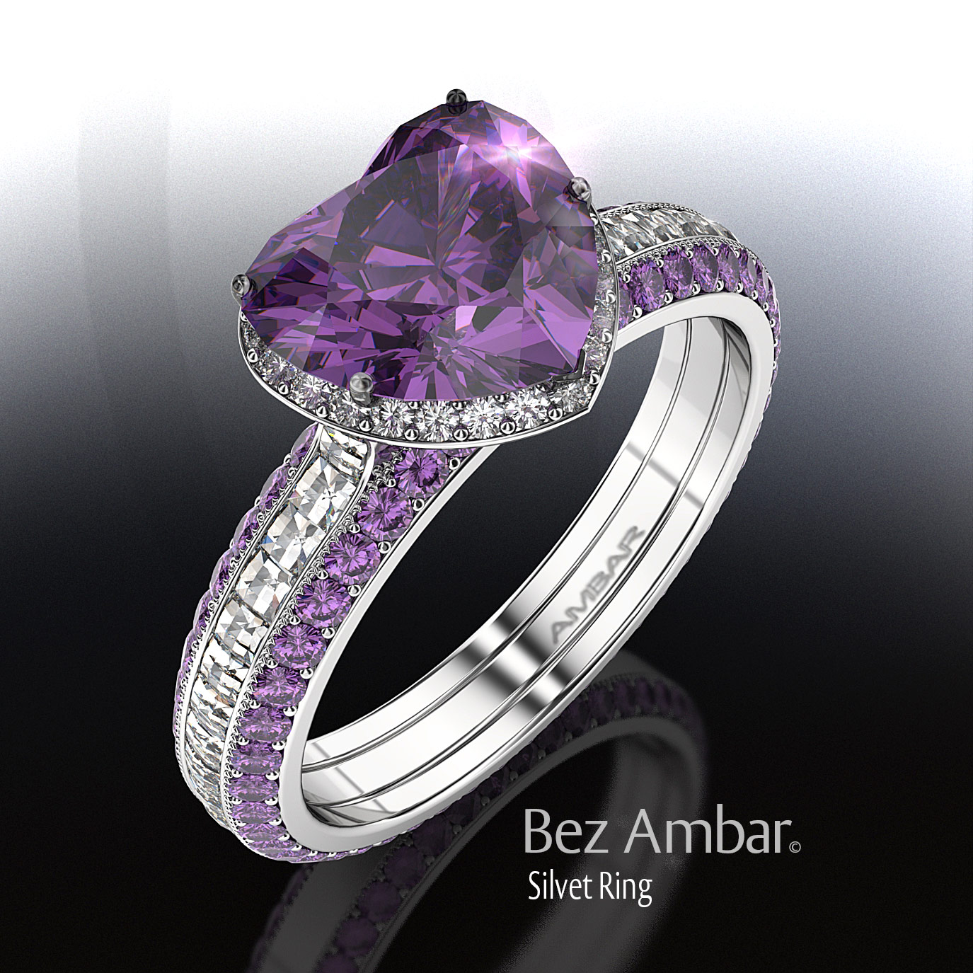 Heart Shaped Amethyst Ring Set Silvet