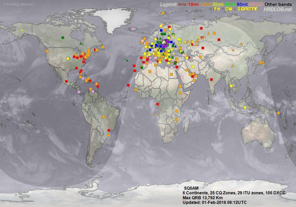 Mapa łączności SQ5AM